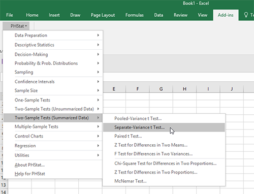 how to use phstat in excel 2016