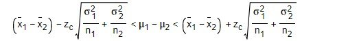 Formula for a confidence interval using z critical values